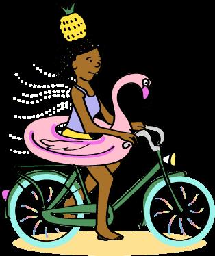 Flamingo bike lady
