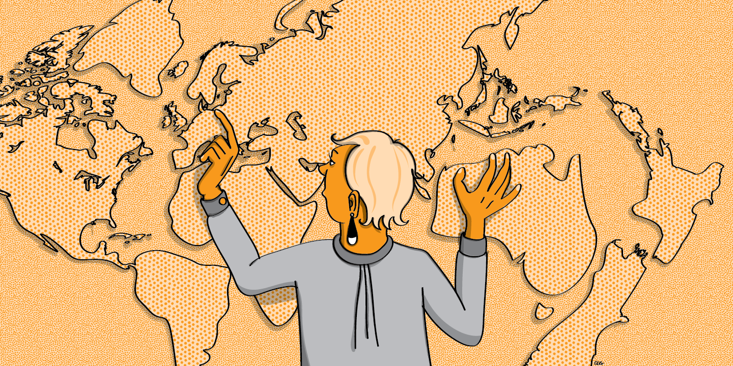 Illustration: A woman looks closely at a map of the world.