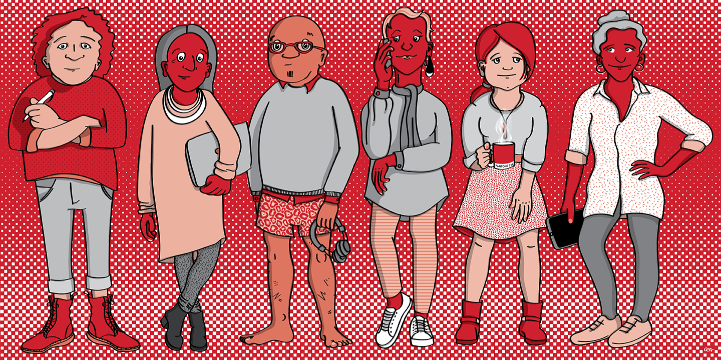 Illustration: 6 designers standing together