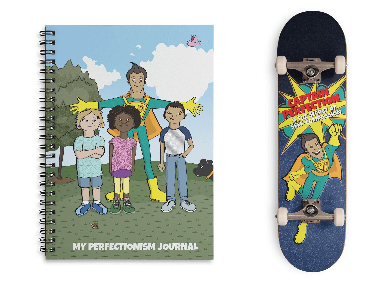 Notebook and skateboard merch