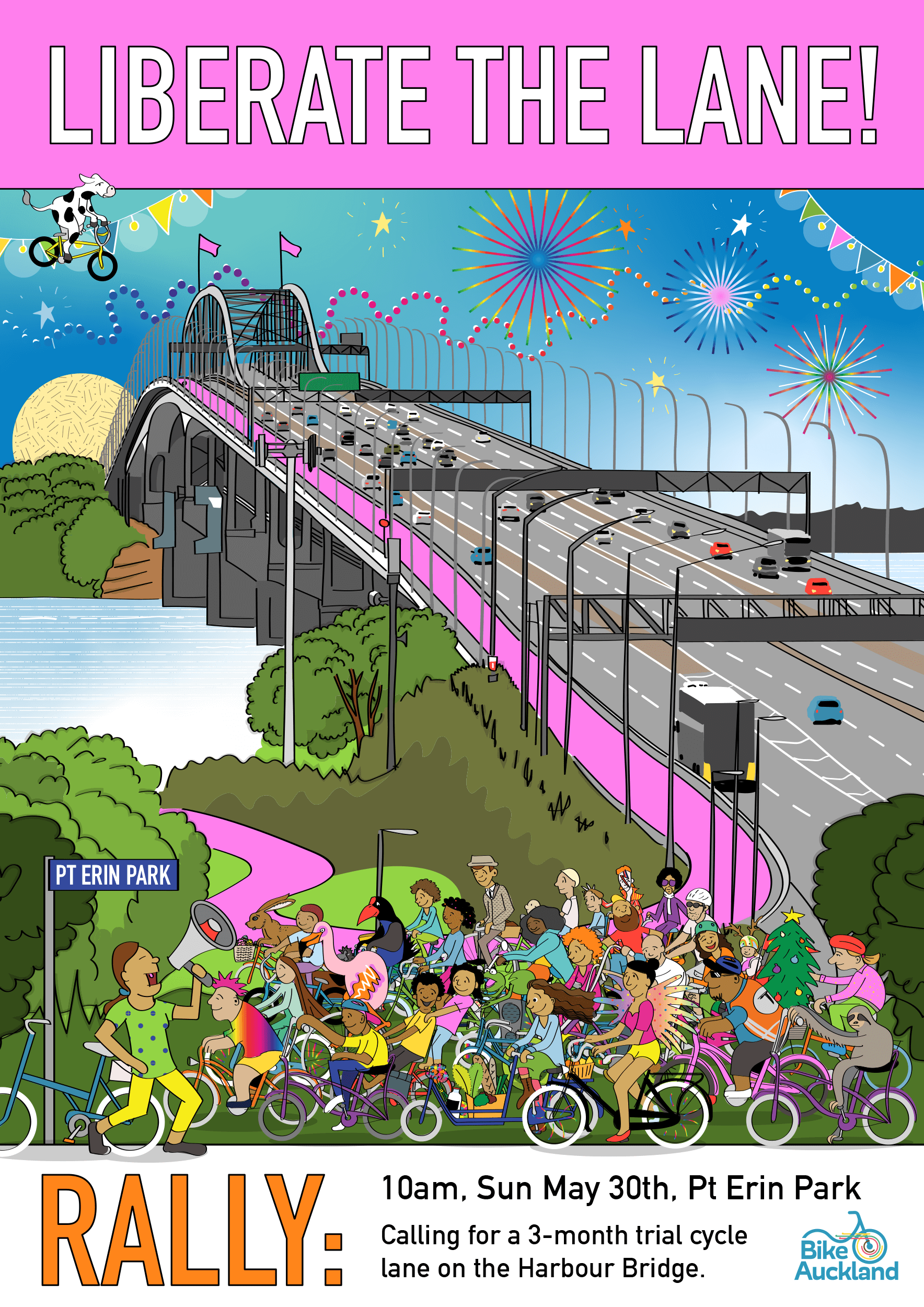 Liberate the Lane! Rally calling for a 3-month trial cycle lane on Auckland Harbour Bridge. 10am, Sunday 30th May, Pt Erin Park