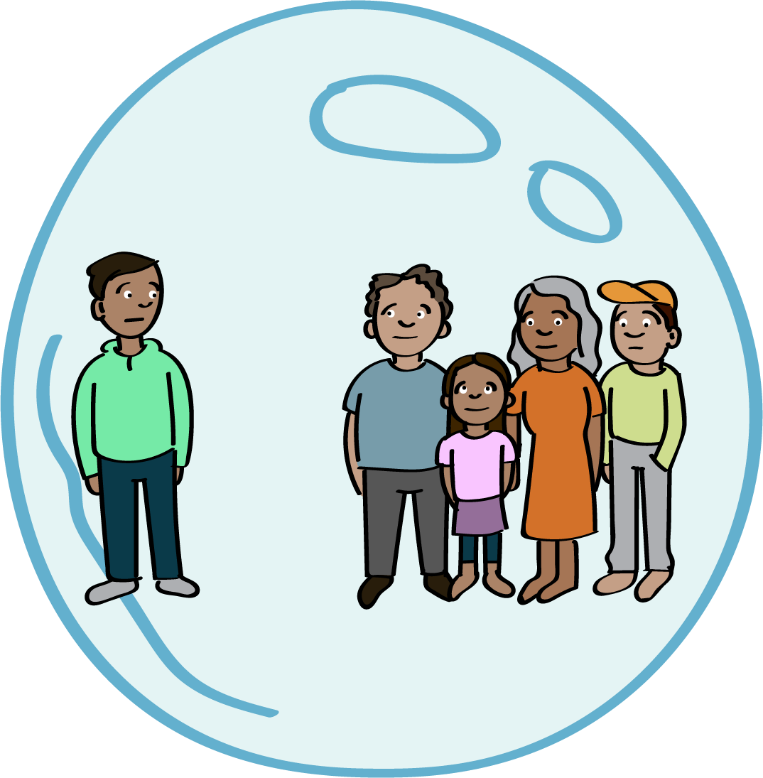 Family in a bubble; one person stands apart