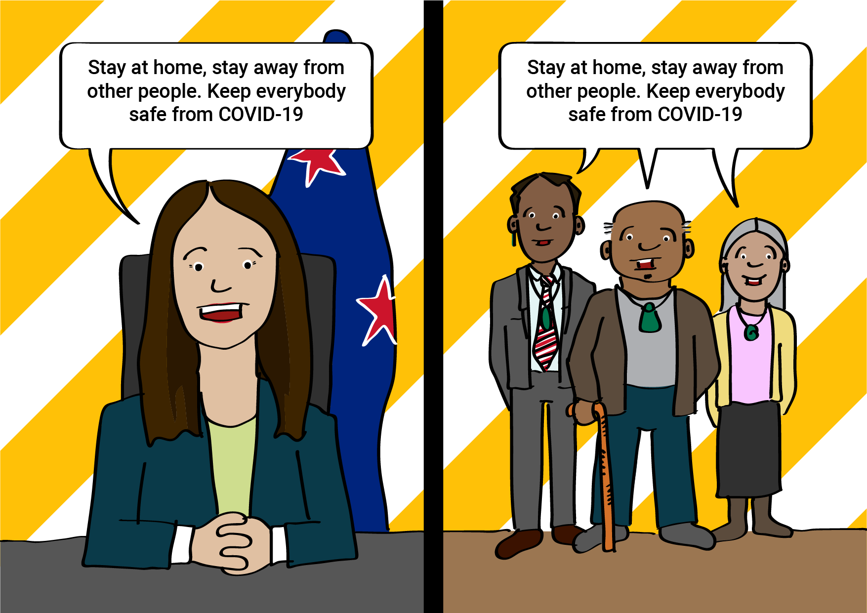 """Jacinda and iwi leaders saying """"Stay at home, stay away from other people. Keep everybody safe from COVID-19"""""""