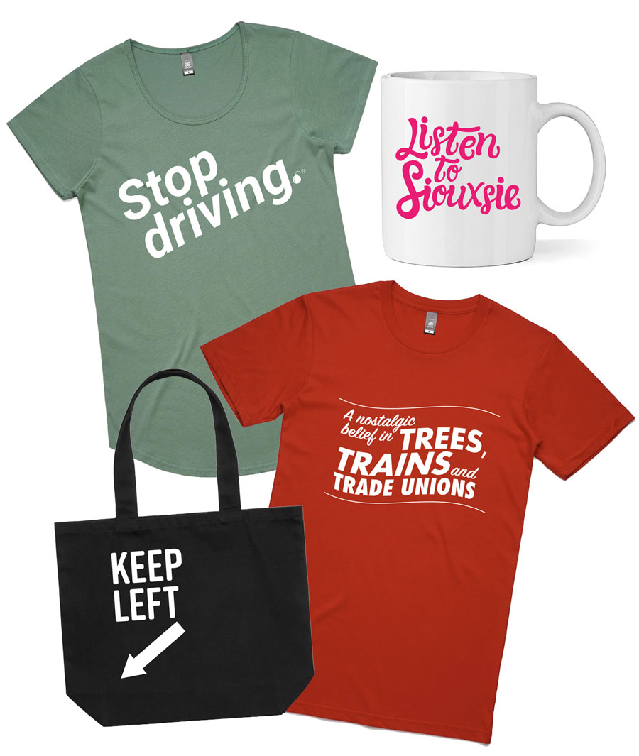 Image of tshirts, bag and mug