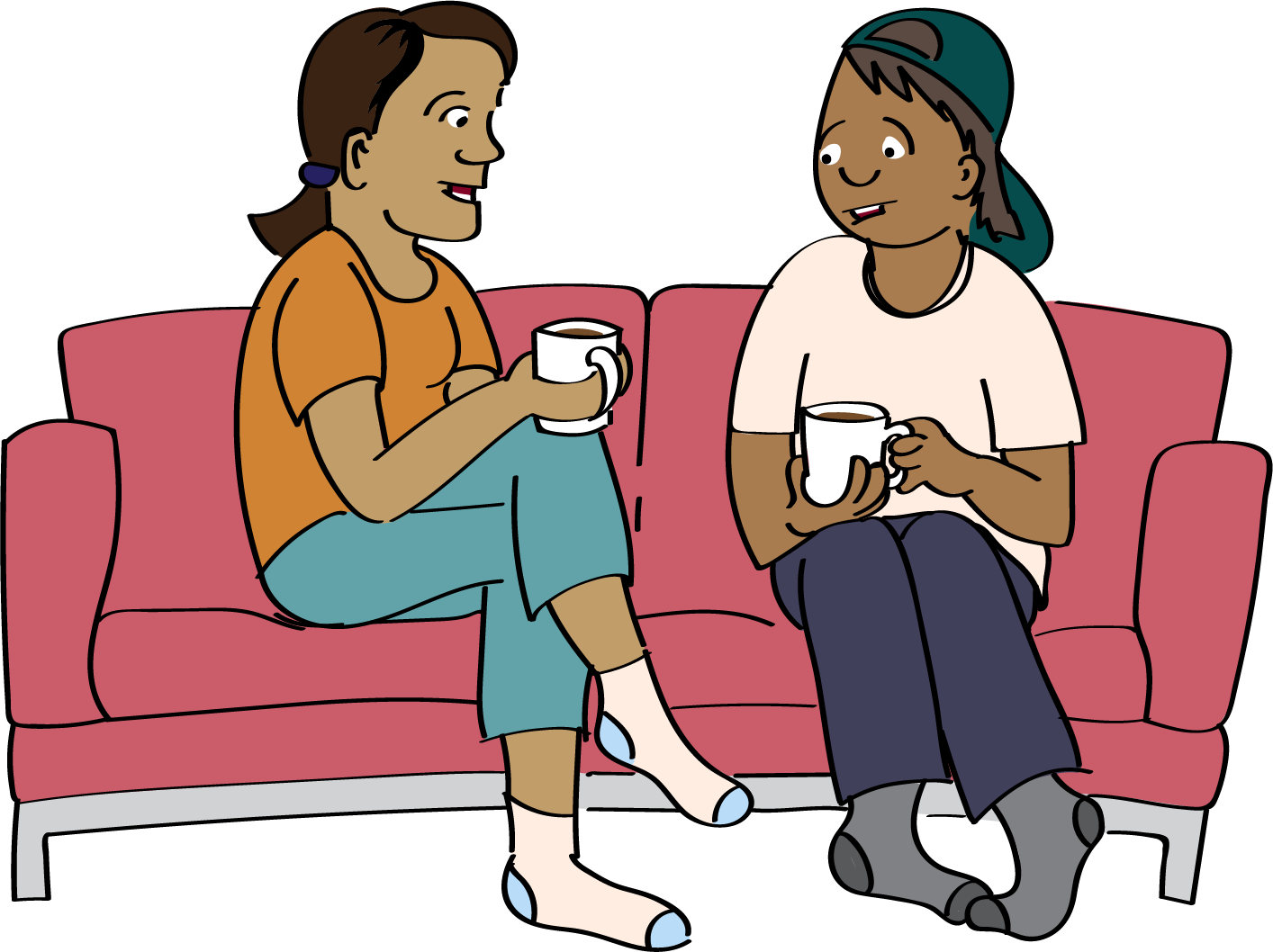 Two people sitting on the sofa holding hot drinks